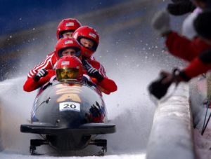 bobsleigh team racers to depict the competitive nature of business