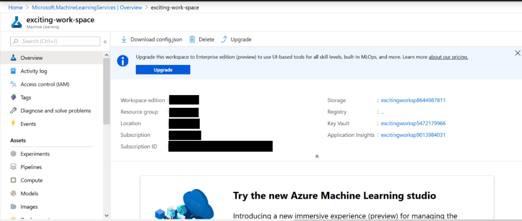 azure machine learning workspace - azure virtual machine