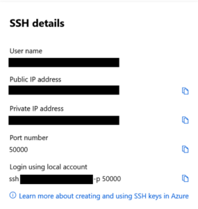 Azure VM SSH details - azure virtual machines